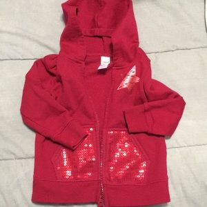 EUC toddler girls red sparkle pocket hoodie